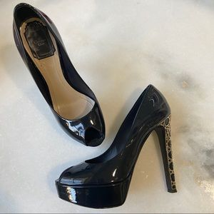 Christian Dior patent leather peep toe pumps heels